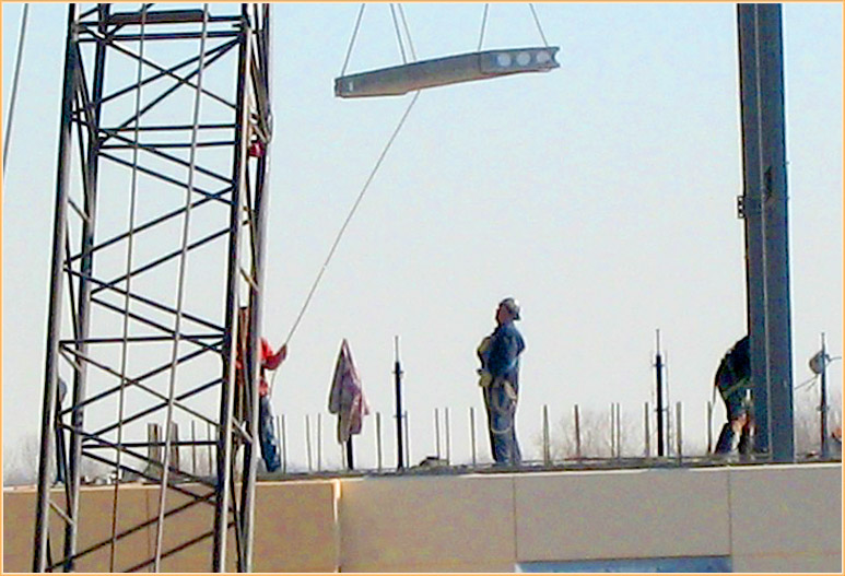 The slabs are set in place intended via a mobile crane